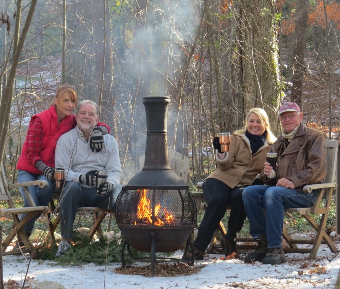 hot cider around the fire