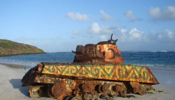 a tank on culebra beach
