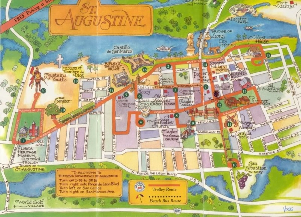 trolley tour map st. augustine, florida
