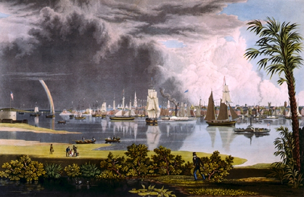 Historic painting of Charleston by George E. Cooke, 1838