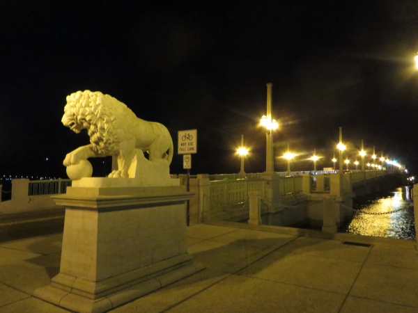 bridge of lions at night