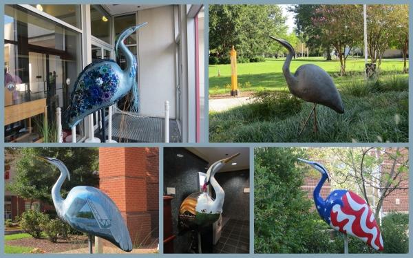 blue heron statues