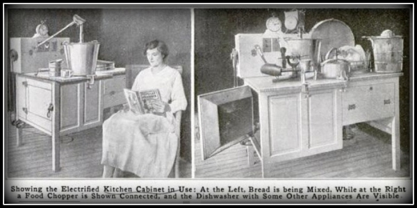 electrified kitchen cabinet invented in 1917