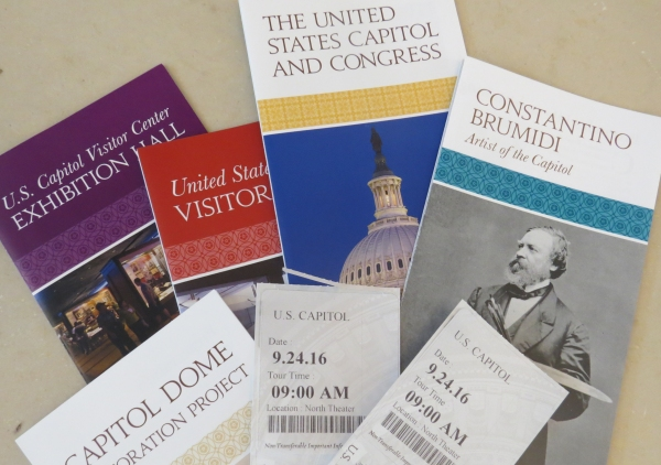 brochures and tickets for washington dc