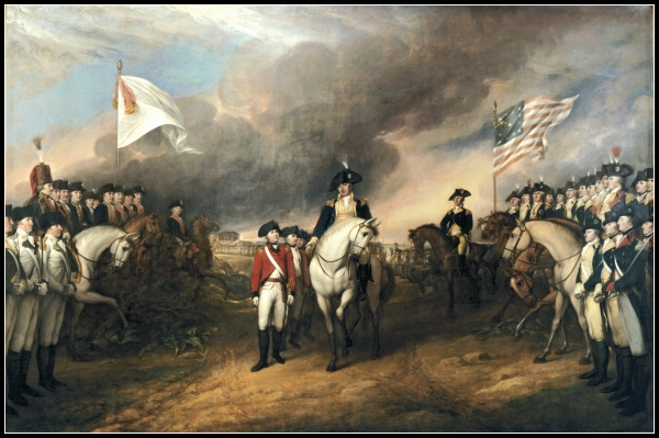 John Trumbull's 1820 oil painting of Cornwallis'  Surrender at Yorktown                                                                                                      but actually Cornwallis wasn't there.