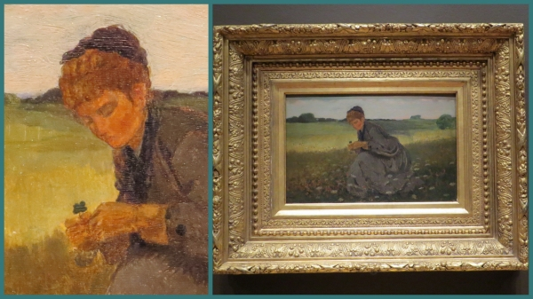 "Close up and big picture views of Winslow Homer's ""Girl with a four-leaf clover"""