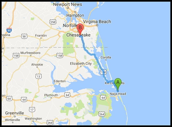 Chesapeake to Nags Head route map