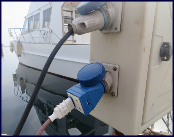 Typical marine dock power connection in a non-North American country