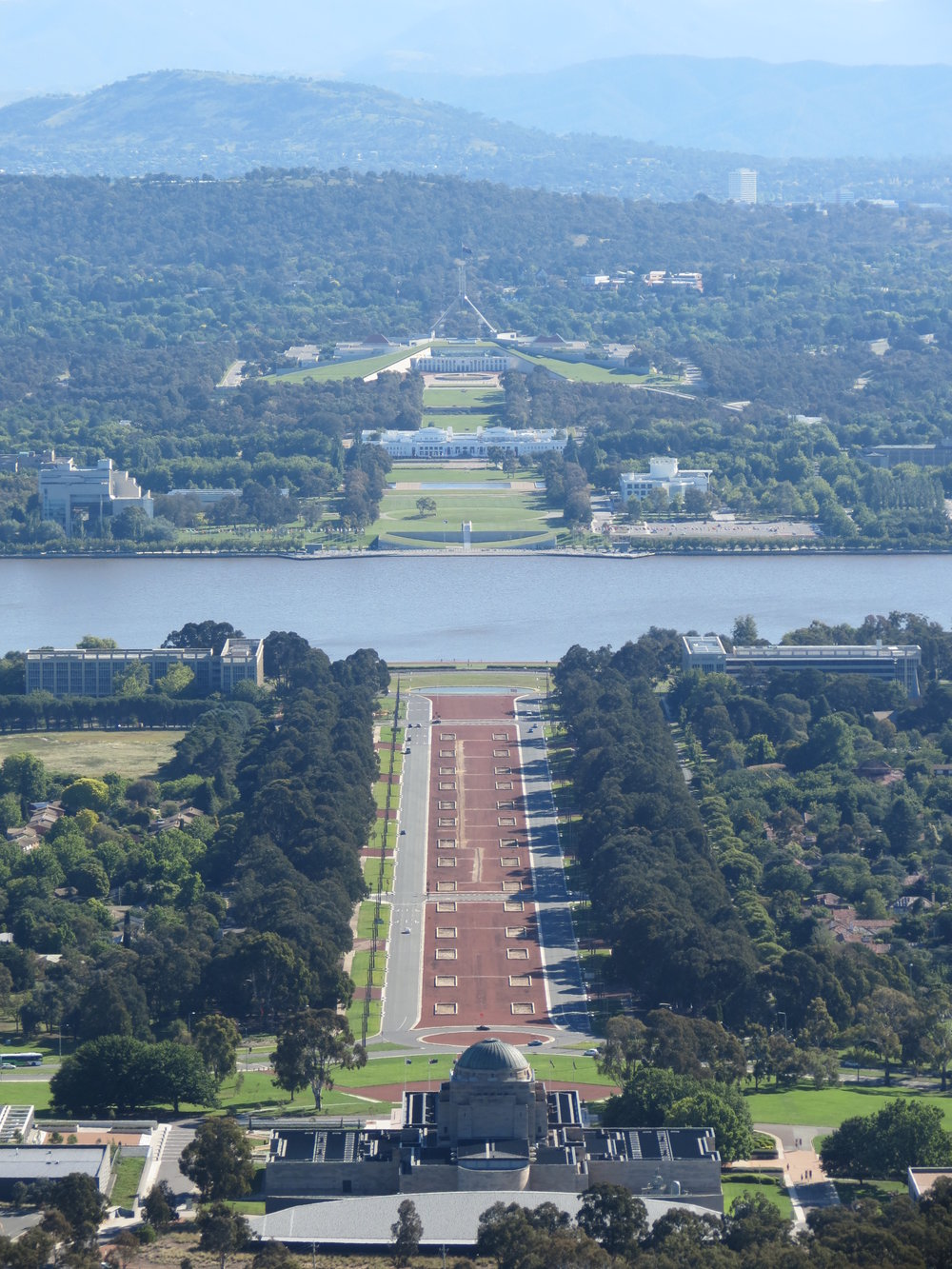 View of Australian War Memorial and Parliament from Mount Ainslie in Canberra, ACT