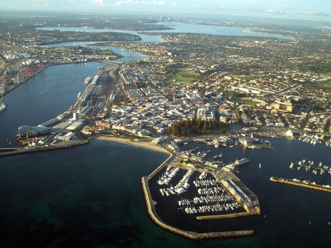 Aerial view of Fremantle port
