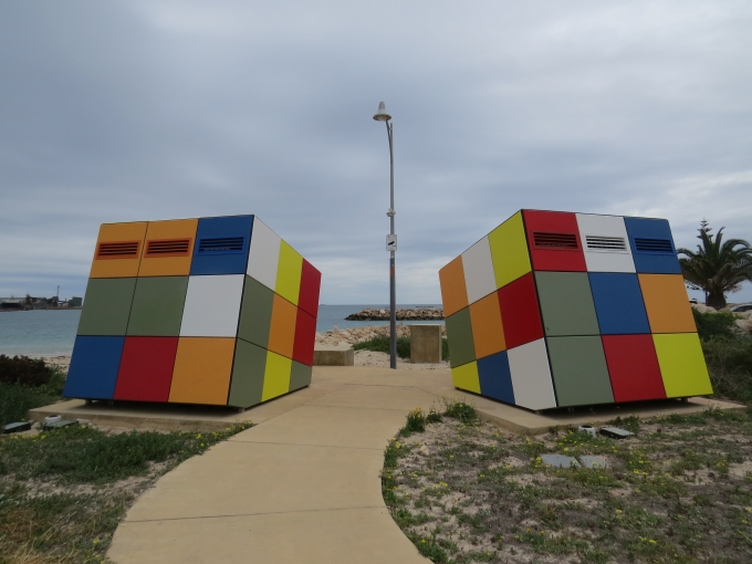 Rubik's cube toilet on the foreshore