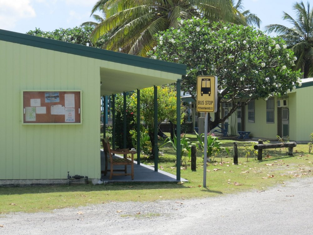 Bus stop on West Island