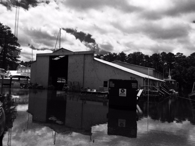 Parts of the boatyard were under water!