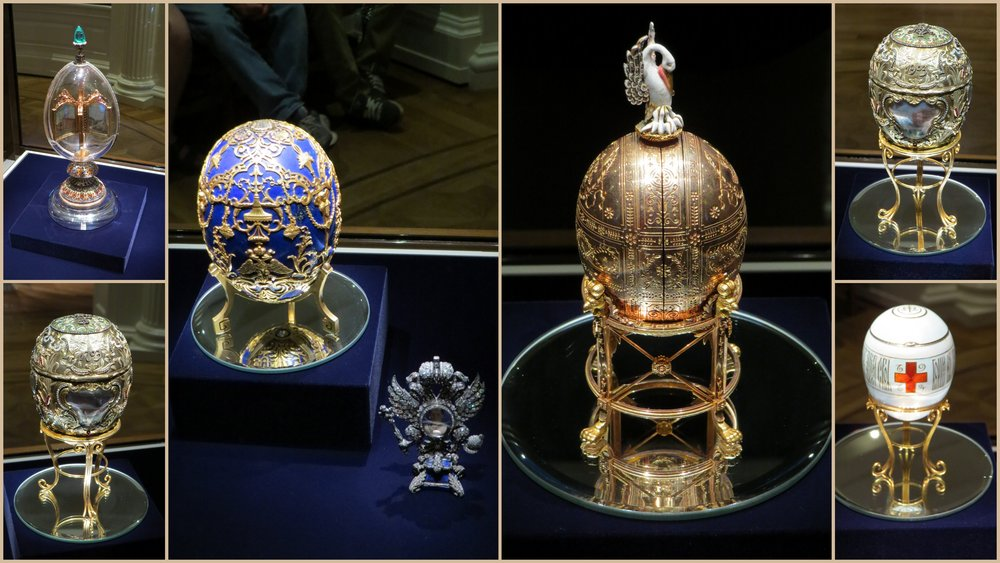 Faberge Easter eggs for the Russian czar, Nicolas II and Alexandra.