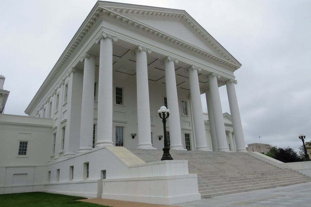 Classical Revival Temple style of the Virginia State Capitol building designed by Thomas Jefferson.