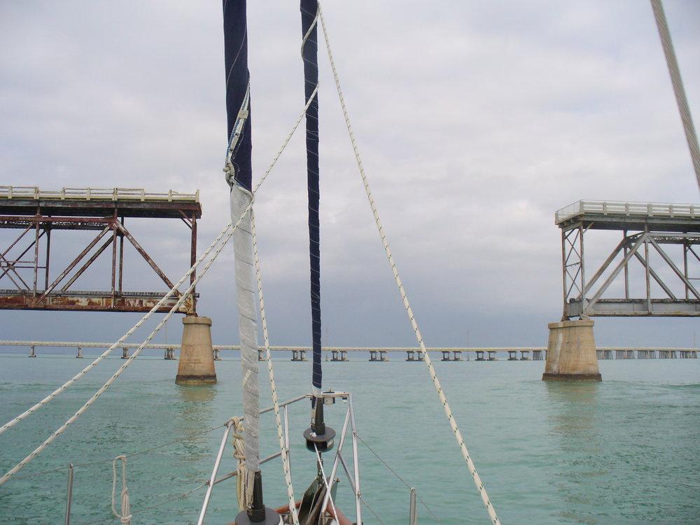 Heading through the railroad bridge at Bahia Honda