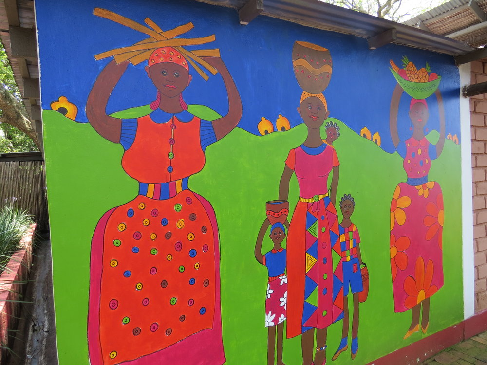 Brightly colored murals