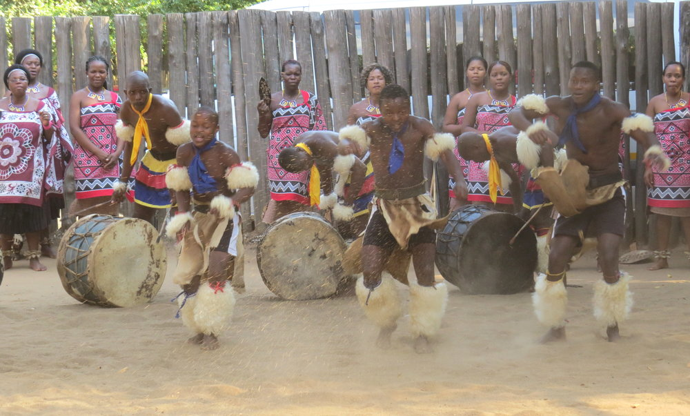 Young Swazi men showed lots of enthusiasm doing traditional dances.