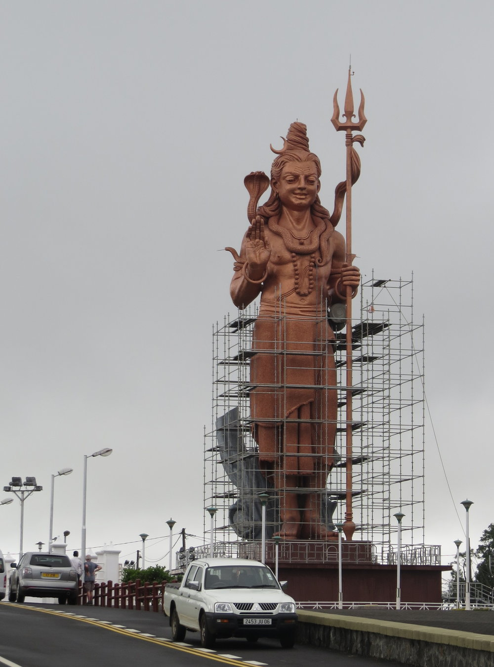 We knew we had arrived when we saw a huge statue of Shiva under construction..