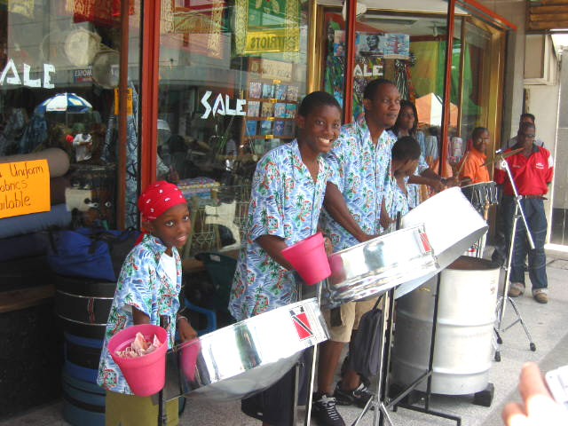 Street band playing steel drums in downtown Port of Spain, Trinidad