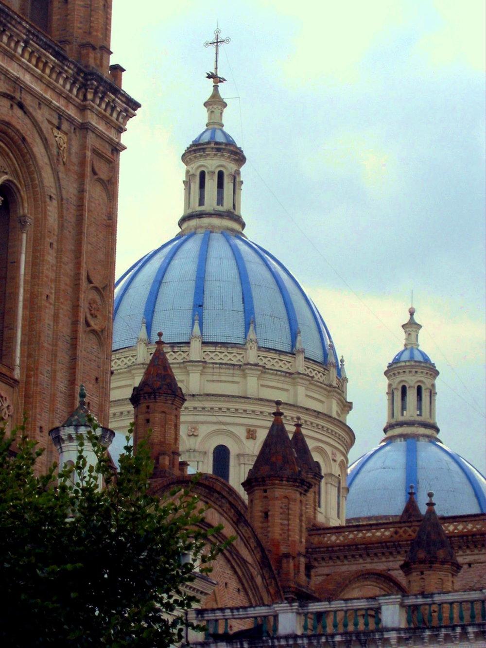 Cathedral domes in Cuenca, Ecuador