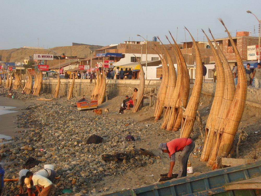 Distinctive totora reed boats - Huanchaco, Peru