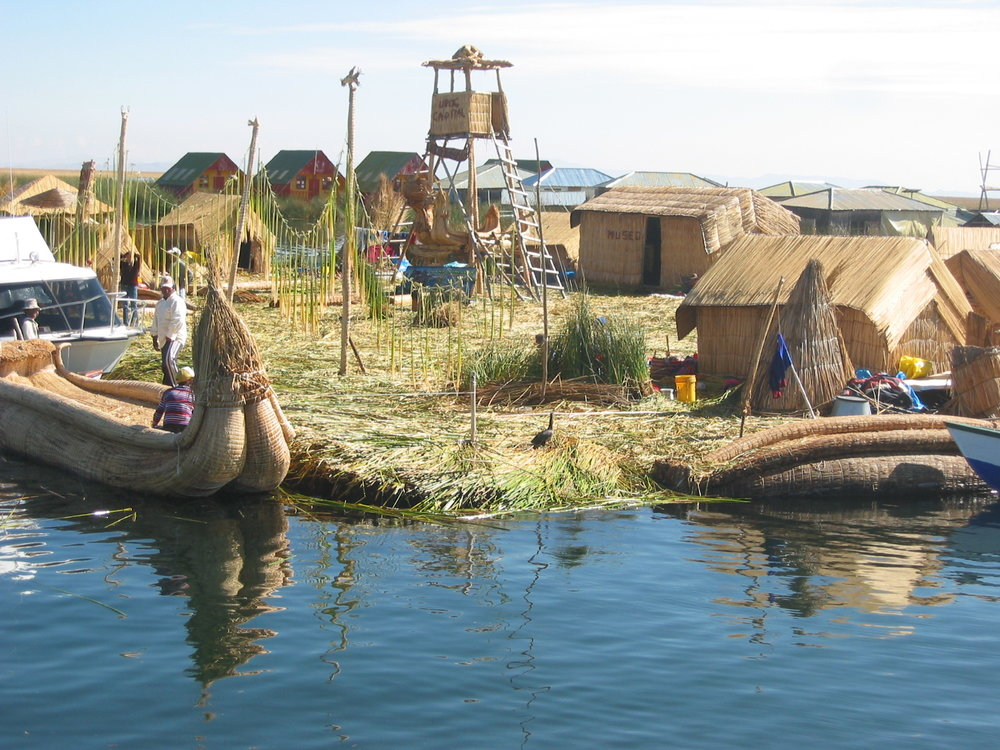 Floating islands of Uros in Lake Titicaca are constructed of the local totora reed.