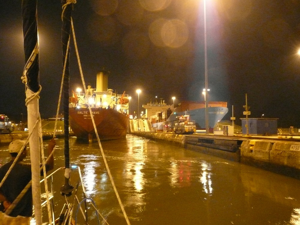 Before dawn transit through the Gatun Locks at the Panama Canal