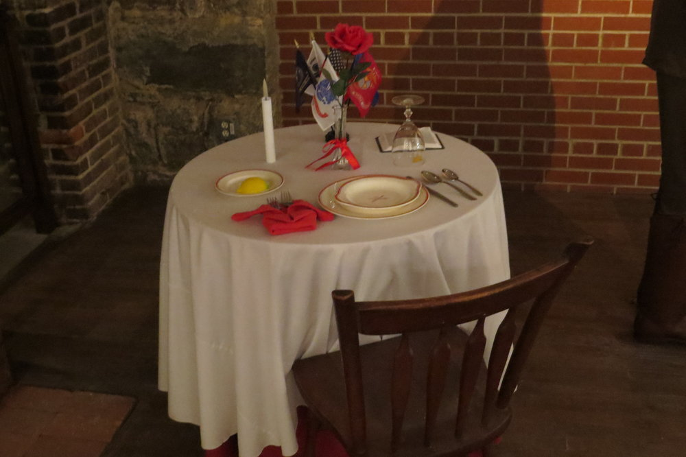 The Missing Man Table in the Fort Monroe Club room at Fort Monroe.