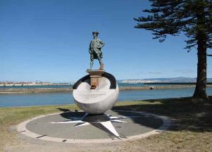 Tribute to Captain Cook's first steps ashore in New Zealand.