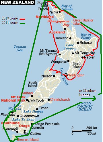 Nine of Cups NZ Circumnavigation Route - 2011