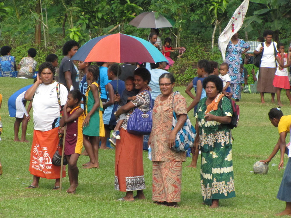Fijian women at a rugby match.