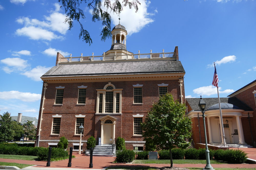 Delaware's old state house on the Green in Dover - On this site, the Declaration of Independence was read for the first time on July 29, 1776 to the citizens of Dover.