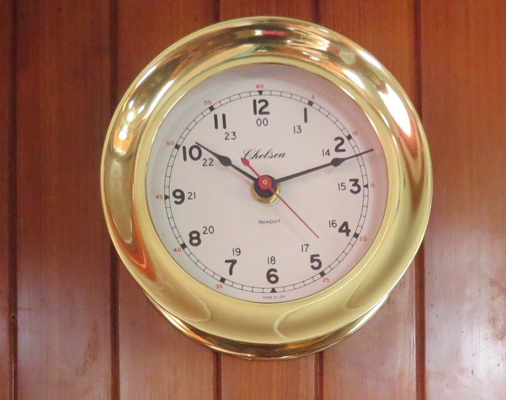 Solid brass ship's clock