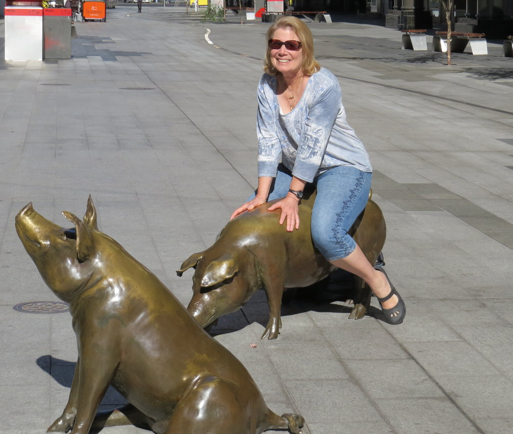 Riding the Rundle Mall pigs