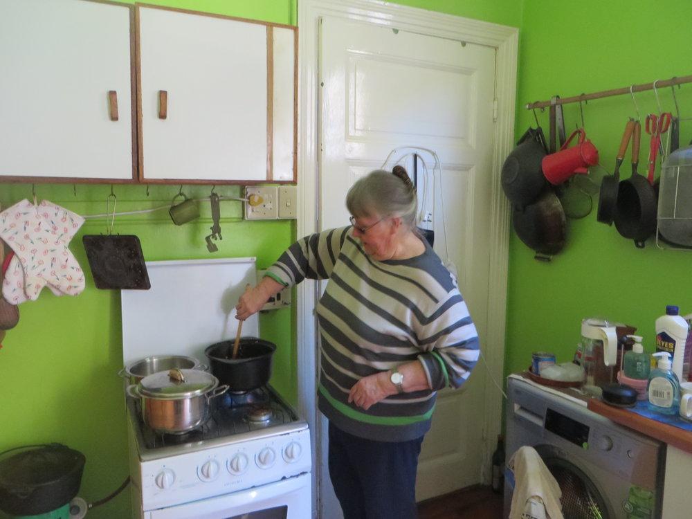 Liz cooking dinner...yum!