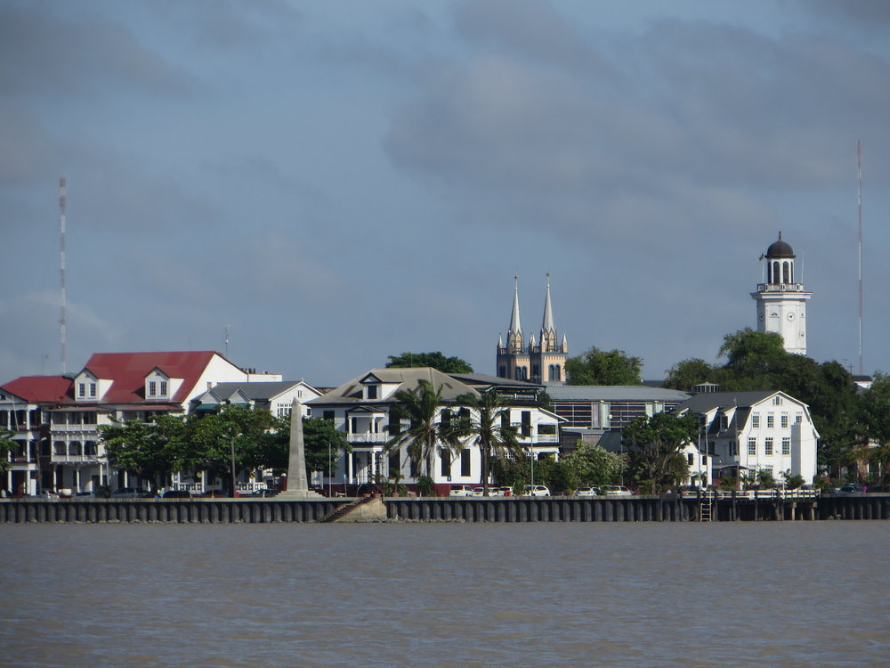 We sailed past Parimaribo on the way up the Suriname River to our mooring in Domberg.