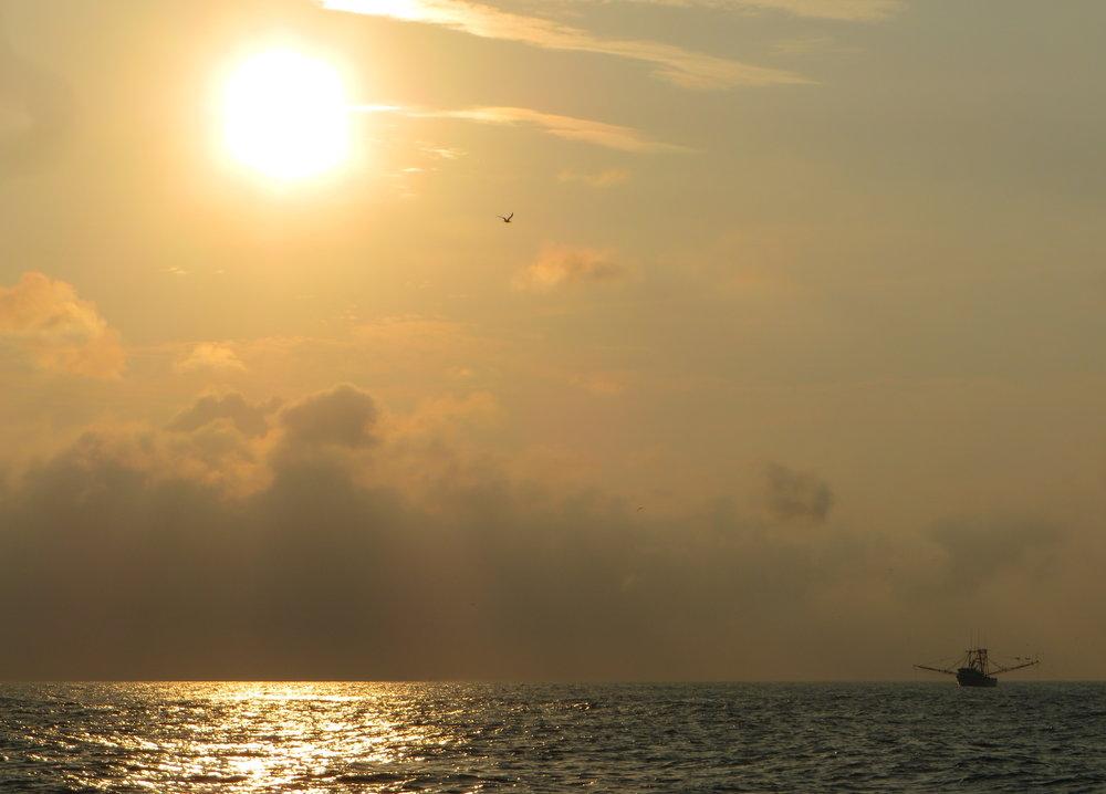 Shrimp boat at dawn in Charleston Harbor