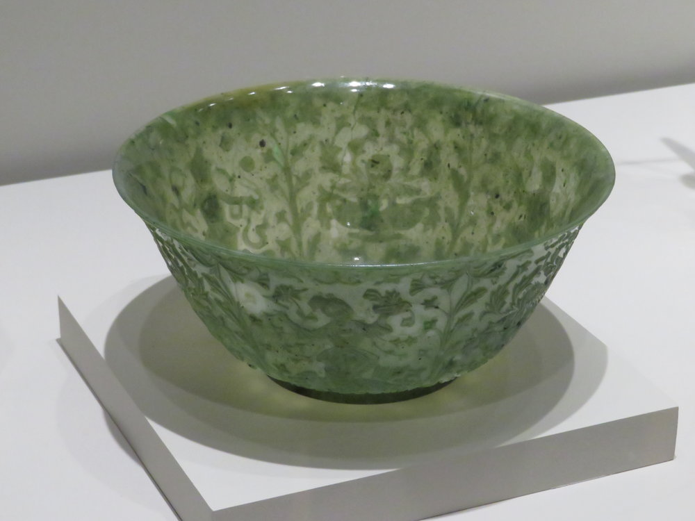 Exquisite carved jade bowl