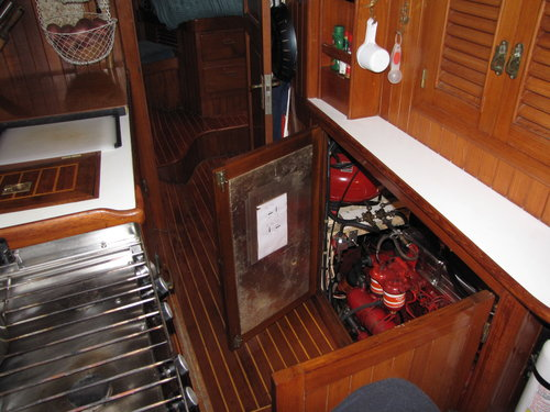 Cups' easy galley access from the engine room