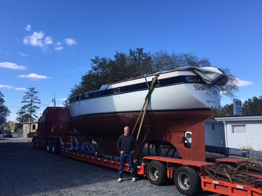 All loaded up, lashed down and ready to go. Captain Moose stands proudly ready to bid her farewell. He'll wait patiently on the other coast for her arrival - ETA 7-10 days.