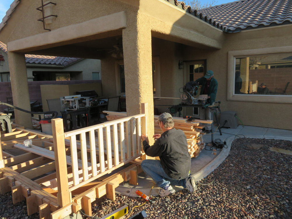 The Lynn Bros building the backyard deck.