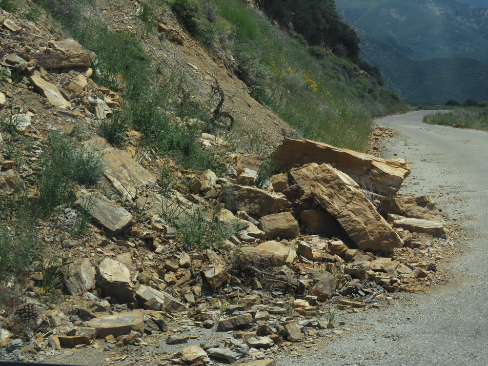 Rockslides were common along our route.