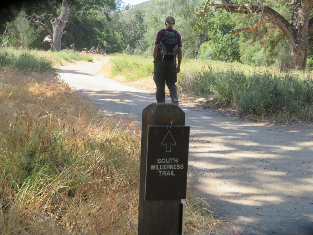 Hiking the South Wilderness Trail to the park boundary.