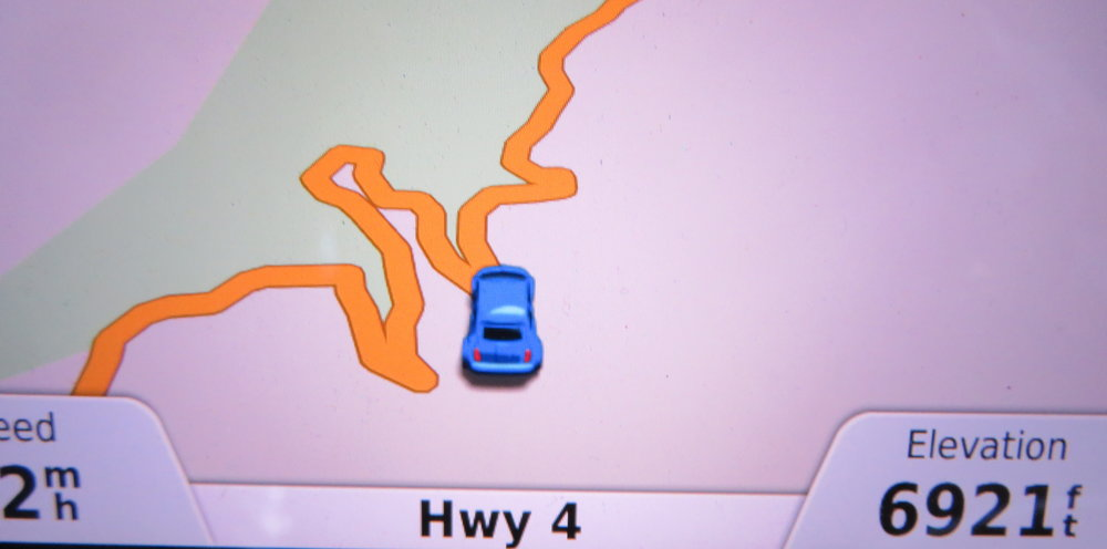 Our GPS view - The road both up and down was circuitous with switchbacks, hairpin turns and steep ascents and descents.