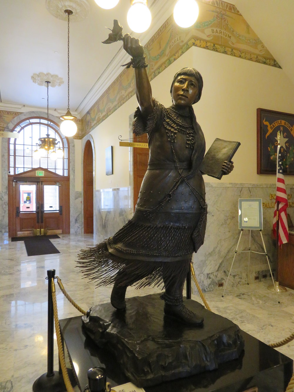 Sarah Winnemucca statue in the lobby of Nevada's Capitol Building