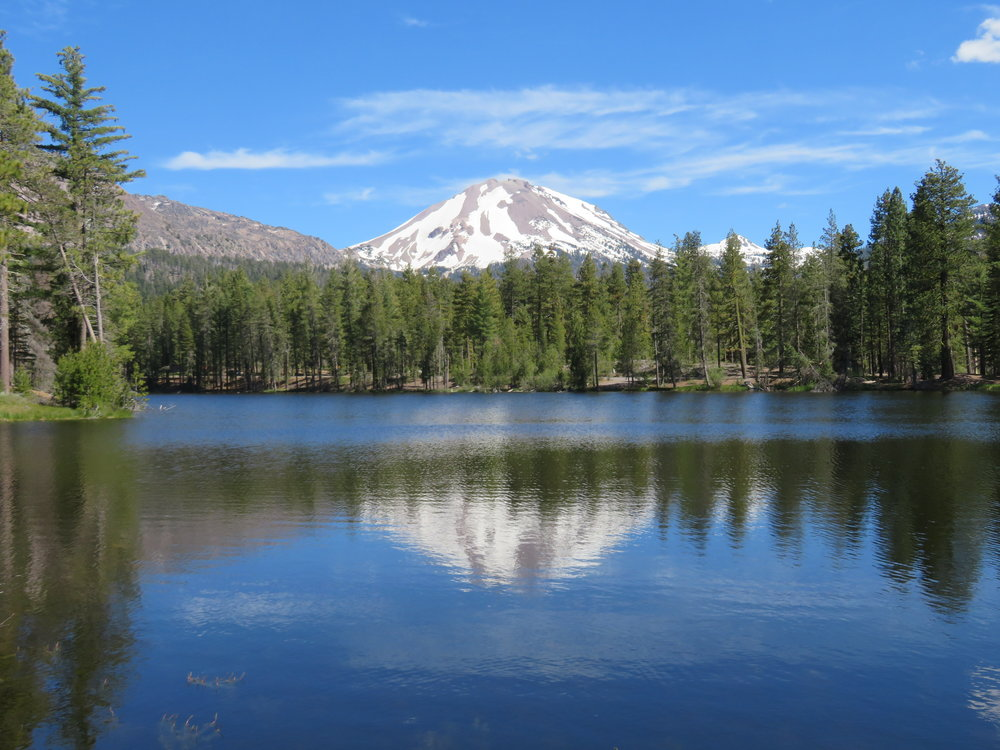 Despite the wind and ripples on the lake's surface, the reflection of Lassen Peak on Reflection Lake was awesome.
