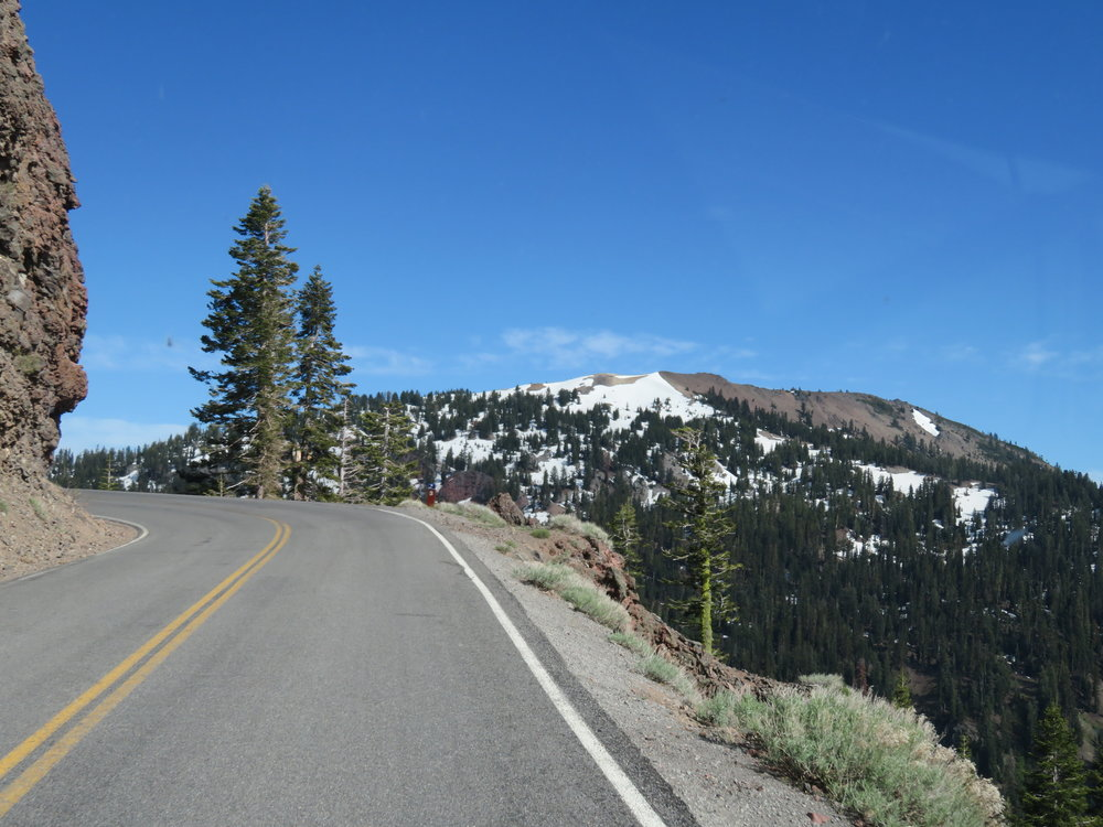 Sheer drop-offs along the Lassen Volcanic NP Highway