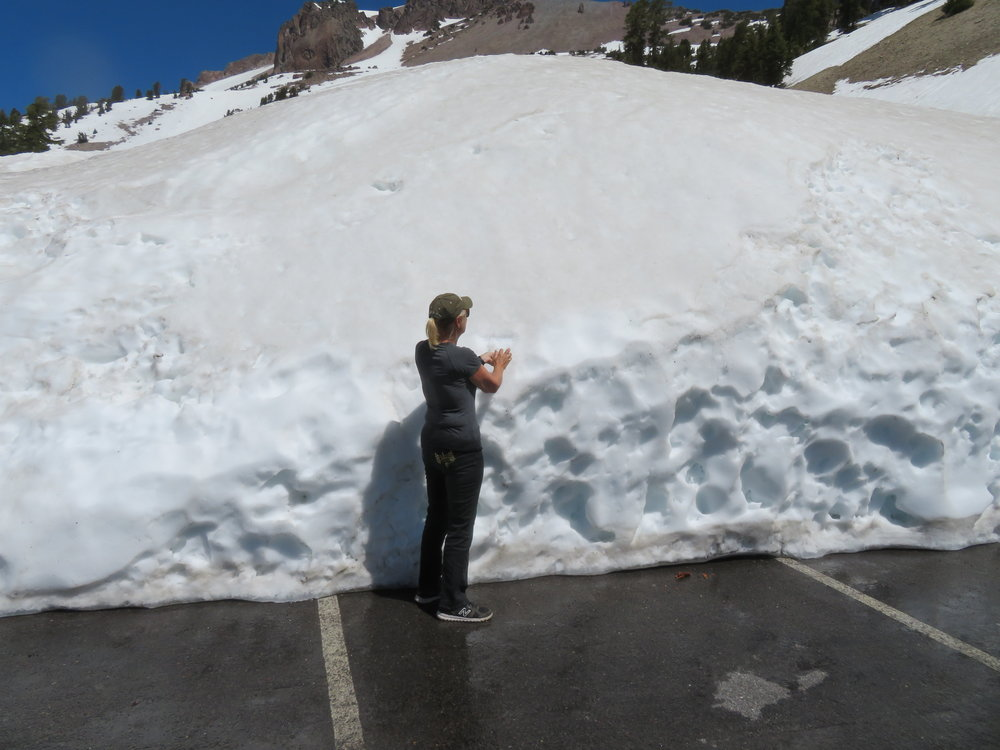 Somewhere under all this snow is the Lassen Peak Trailhead!