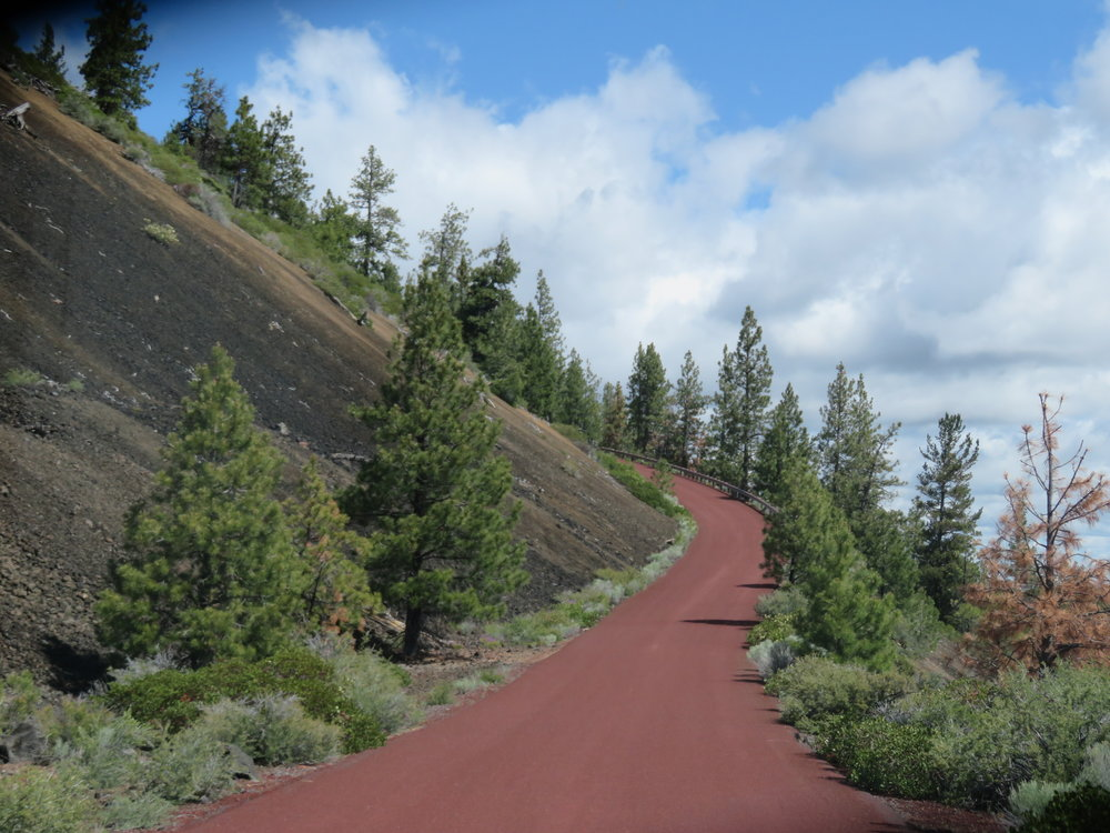 Red cinder road to the top of Lava Butte Lookout